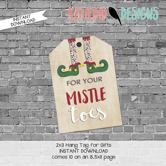 Neighbor Holiday gift tag, Teacher or Friend Christmas gift tag, Mistle Toes for nail polish | 801 Katiedid Designs
