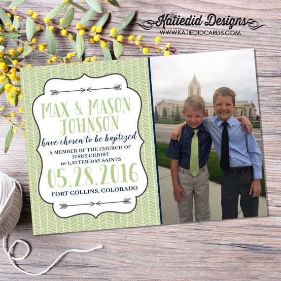 baptism invitation LDS tribal arrows christening baby blessing mormon photo picture ultrasound baby shower communion | 714 Katiedid Designs