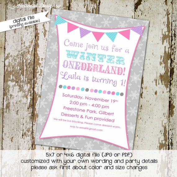 winter onederland invitation girl 1st birthday rustic shower snowflakes gray pink polka dot baptism twins siblings | 204 katiedid designs