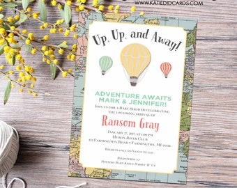 Adventure awaits hot air balloon travel baby shower invitation world map gender neutral reveal couples coed diaper | 12116 Katiedid Designs