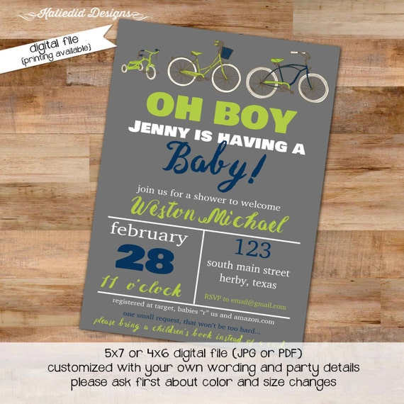 bicycle couples baby shower invitation boy coed sprinkle sip see brunch diaper wipes bike gray navy green twins LGBT | 1214 Katiedid Designs