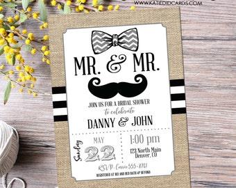 bow tie couples shower Invitation mustache two grooms Bridal gay wedding rustic black white stripe burlap twins LGBT   369 Katiedid Designs