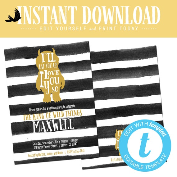 wild one two where the things are birthday invitation couples baby shower coed rumpus king gold black white editable templett | 297 Katiedid