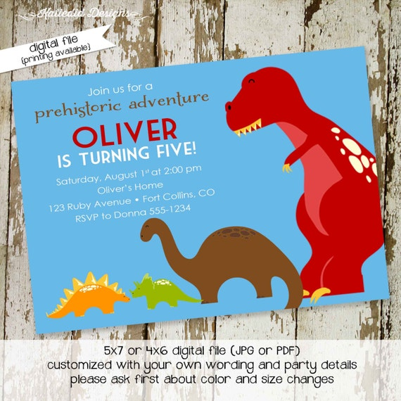 Dinosaur birthday invitation boy baby shower couples coed baptism 1st first T rex roar Dino twins brontosaurs stegosaurus | 213 Katiedid