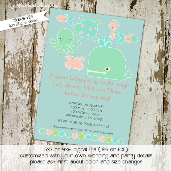 Nautical baby shower invitation gender reveal neutral mint coral ocean under the sea whale octopus turtle girl fish | 1327 Katiedid Designs