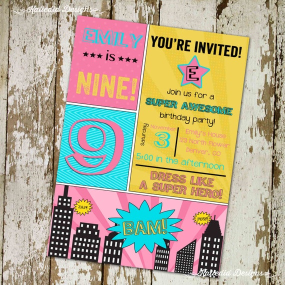super hero comic book birthday invitation teen girl sleepover bachelorette cityscape retirement party adults only 13th | 268 Katiedid design