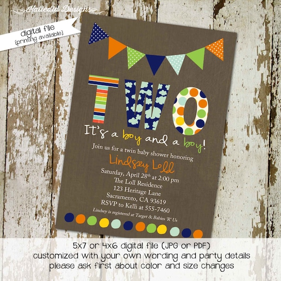 Twins baby shower invitation couples coed gender reveal party boy sprinkle sip see books brunch birthday two boys gay | 155 Katiedid Designs