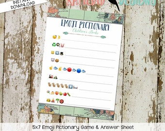 emoji pictionary children's books baby shower game Travel Theme adventure awaits oh the places you'll go world map | 1466 Katiedid Designs