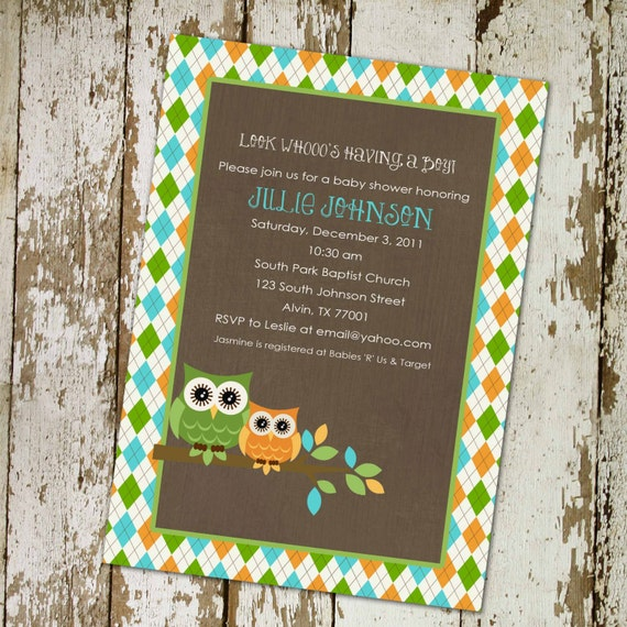 Gender reveal invitation owl baby shower couples coed boy 1st birthday diaper wipes brunch baptism rustic neutral twins LGBT | 1255 Katiedid