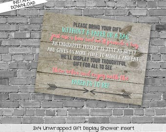 display shower insert | unwrapped gift enclosure card | rustic shower invitations gender neutral | mint coral invite | 1417 katiedid designs