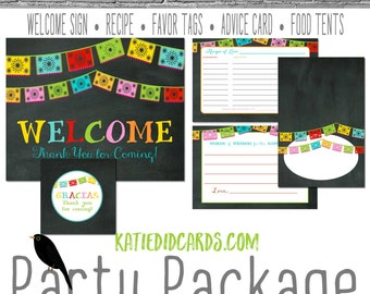 Papel Picado Fiesta Bridal Shower Couples rehearsal dinner mexican cinco de mayo birthday party package welcome sign 301 Katiedid Designs