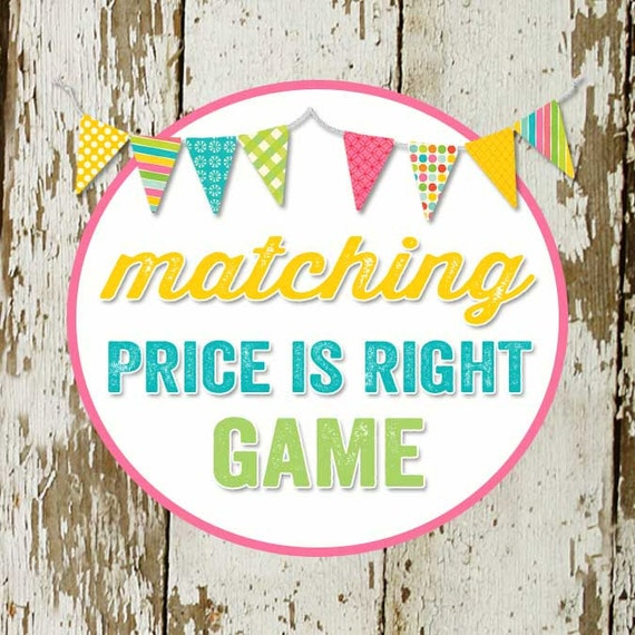 PRICE IS RIGHT game to match any invitation for baby shower or bridal shower, digital,  printable file Katiedid Designs cards