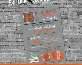 Library card storybook once upon a time baby shower invitation book theme gender neutral reveal couples coed brunch | 12123 Katiedid Designs