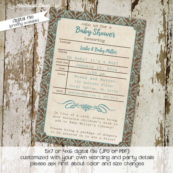 Once upon a time baby shower invitation storybook library card theme books brunch couples coed boy sprinkle gender neutral | 12109 Katiedid