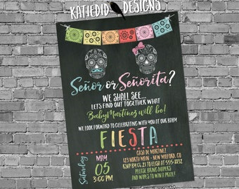 Fiesta gender reveal invitation baby shower cinco de mayo senor senorita sugar skull Papel Picado couples coed twin mexican | 1460b katiedid