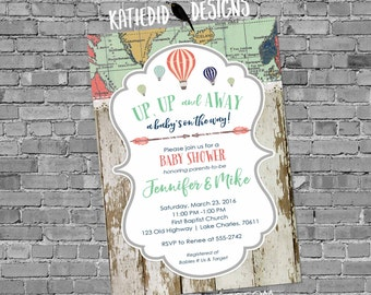Travel theme hot air balloon Adventure awaits baby shower invitation gender reveal neutral world map up away couples   1468 Katiedid Designs
