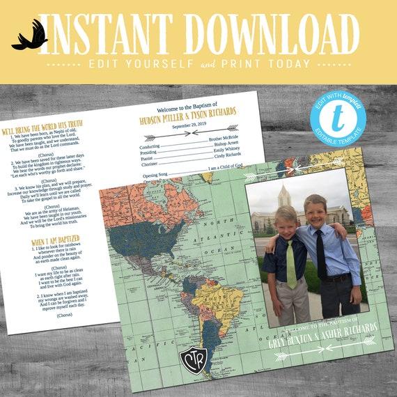 LDS baptism program, travel theme mormon baptism tribal arrow picture photo boy editable | 716 Katiedid designs