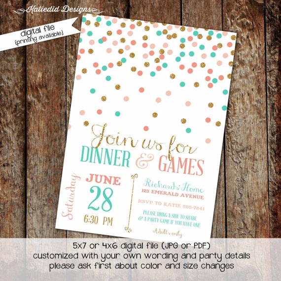 Couples shower Invitation bridal baby coed confetti girl 1st birthday brunch coral gold aqua stock the bar I do BBQ party | 309 Katiedid