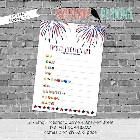 emoji pictionary children's books baby shower game patriotic gender reveal couples red white blue fireworks stars | 1478 Katiedid Designs