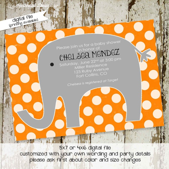 elephant baby shower invitation gender neutral reveal polka dot boy orange gray couples coed birthday sprinkle sip see | 1211 Katiedid cards