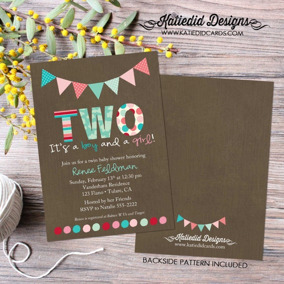 gender reveal invitation Twins baby shower pink or blue he she brother sister double couples coed diaper wipes sprinkle two | 1515 Katiedid