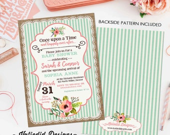 happily ever after couples shower invitation storybook gender reveal once upon a time baby neutral boho floral mint coral    1346 Katiedid