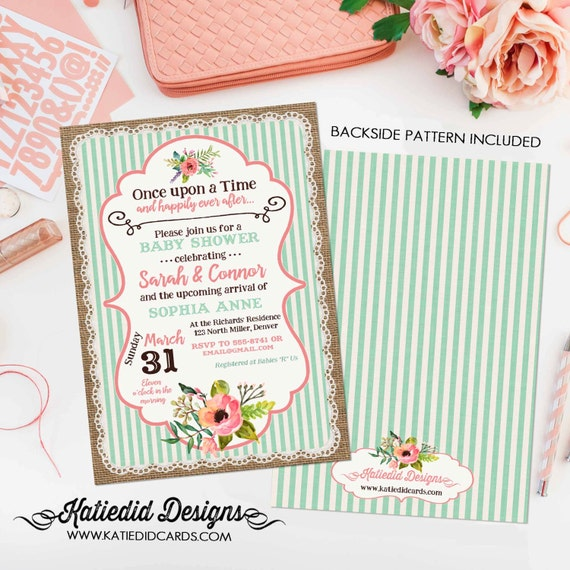 happily ever after couples shower invitation storybook gender reveal once upon a time baby neutral boho floral mint coral  | 1346 Katiedid
