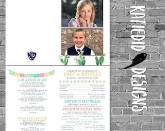 LDS baptism program, funeral program template, Fiesta cactus southwest   715 Katiedid Designs