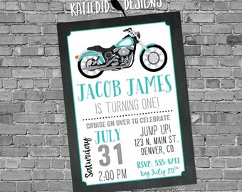 adult birthday invitations Motorcycle baby shower little boy 1st first 30th 40th 50th 60th retirement party surprise   299 katiedid designs