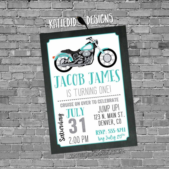 adult birthday invitations Motorcycle baby shower little boy 1st first 30th 40th 50th 60th retirement party surprise | 299 katiedid designs