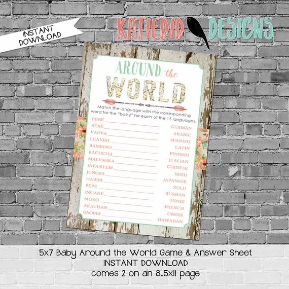 gender reveal party game around the world shower game Travel Themed oh the places you'll go Adventure Awaits world map 1445 katiedid designs