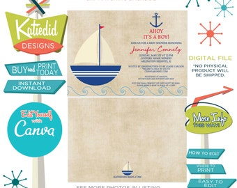 Nautical Baby Boy Shower Invitation, Sailboat Birthday Party, Edit wording for ANY Event   1251 Katiedid