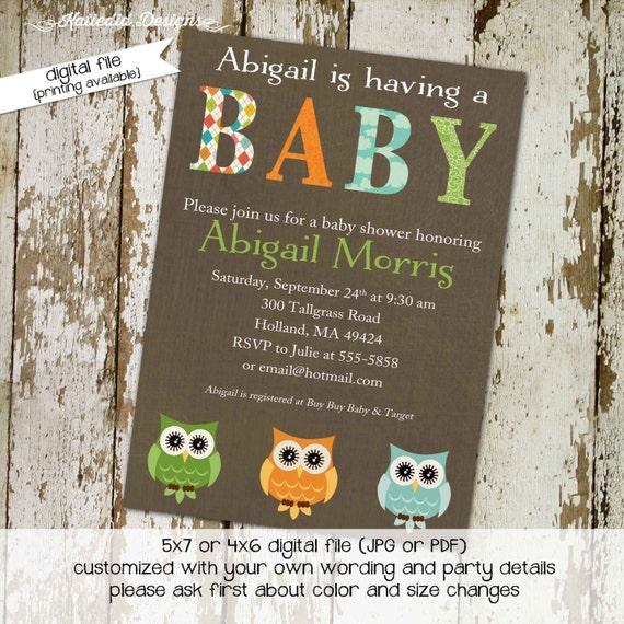 gender reveal invitation owl baby shower neutral couples coed diaper wipes brunch sip see green orange blue boy oh   1419 Katiedid Design