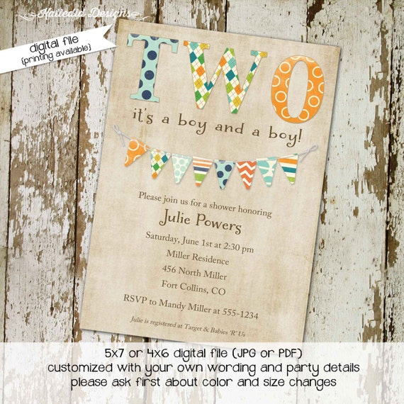 Twins baby shower invitation couples coed sprinkle sip see two wild birthday orange green rustic bunting banner brunch | 157 Katiedid Design
