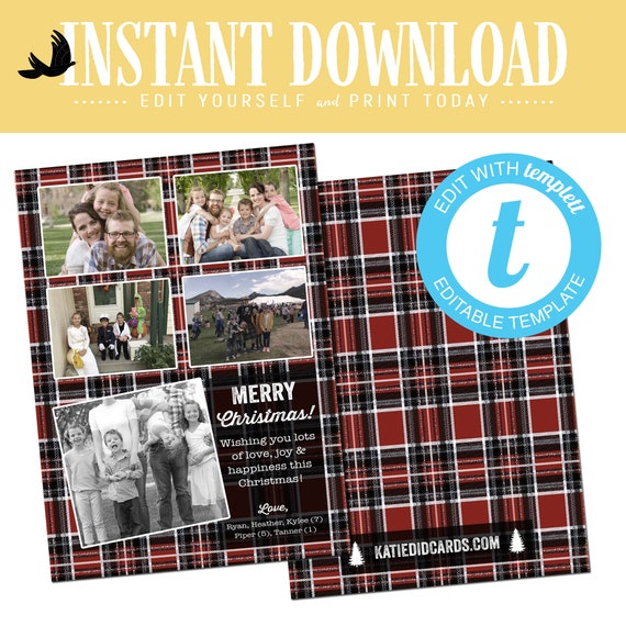 Plaid Christmas Card, Family Photo Collage Holiday Card, Year in Review editable templett | 881 Katiedid Designs