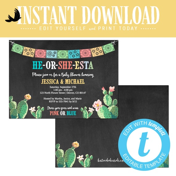 Fiesta gender reveal invitation baby shower stock the bar cactus Papel Picado couples twin editable adult engagement party | 1490 Katiedid