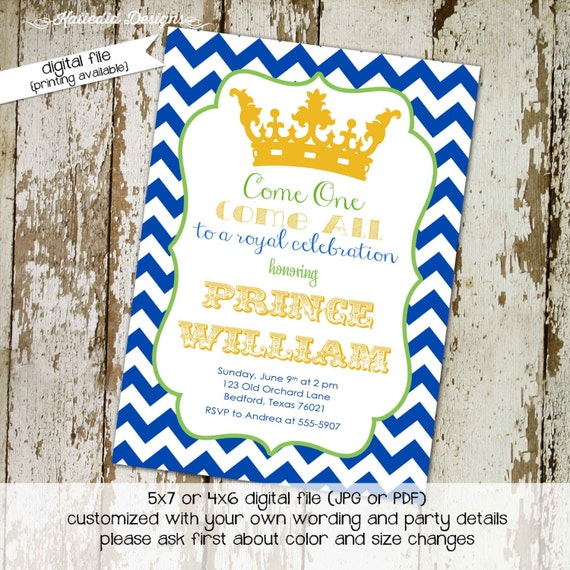 little prince once upon a time baby shower invitation crown blue boy storybook birthday couples coed sprinkle sip see | 266 Katiedid Designs