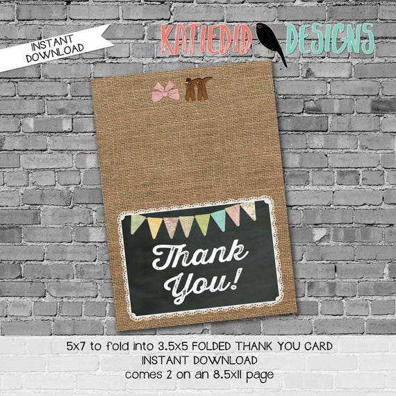 rustic chic burlap thank you card birthday brother sister boots bows bunting banner surprise gender burlap lace 1410 227 Katiedid Designs