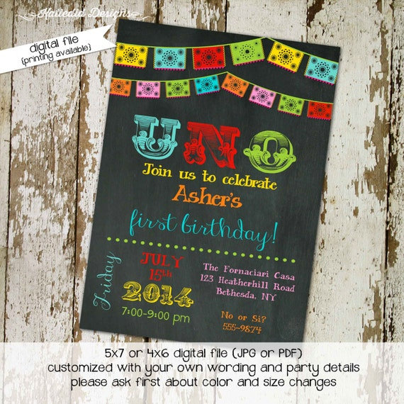 Fiesta 1st birthday invitation Papel Picado party invitation Uno birthday invite Day of the dead Cinco de mayo Dia de Muertos | 234 Katiedid