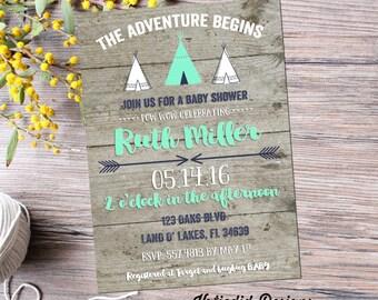 Teepee couples baby shower invitation boy rustic tribal coed diaper wipes sprinkle sip see birthday baptism mint navy gray | 129 Katiedid