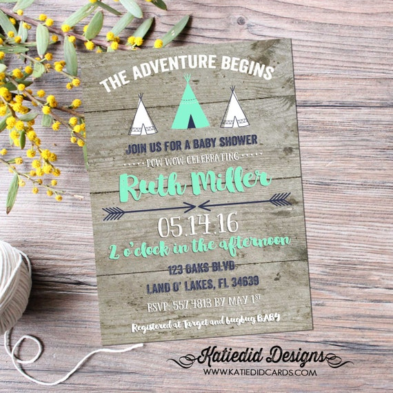 Teepee couples baby shower invitation boy rustic tribal coed diaper wipes sprinkle sip see birthday baptism mint navy gray | 129 Katiedid