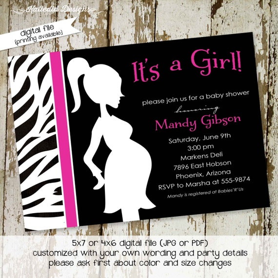 ready to pop baby shower invitation pregnancy announcement girl brunch diaper wipes animal print zebra pink black | 1355 Katiedid Designs