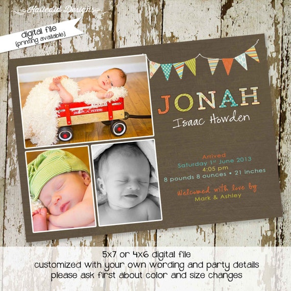 newborn birth announcement baby shower invitation twins pregnancy ultrasound photo birthday picture sip see blessing | 426 Katiedid designs