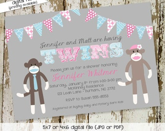 sock monkey gender reveal invitation twins baby shower couples birthday coed diaper wipes brunch sprinkle sip see gray   1523 Katiedid Cards