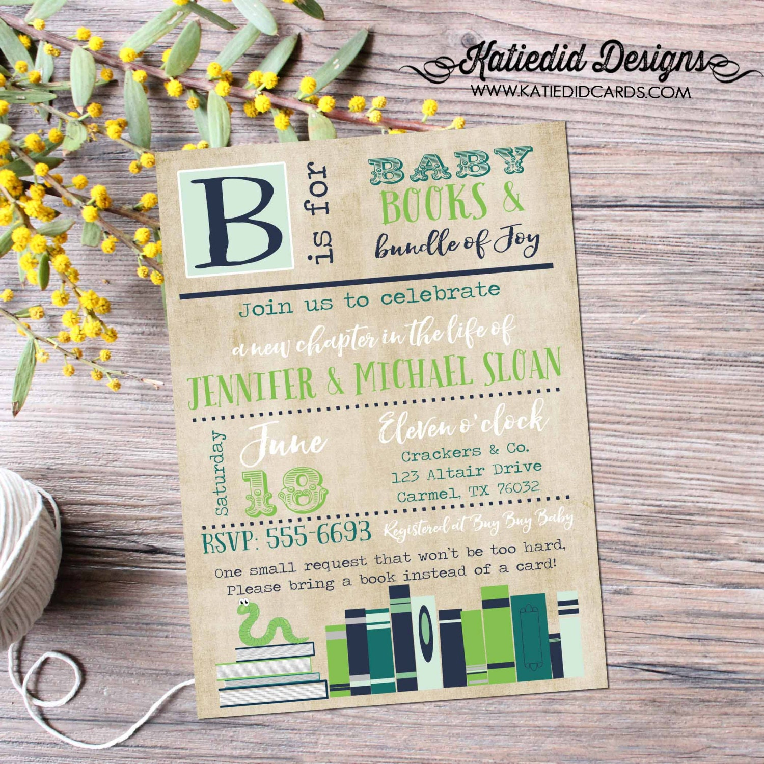 Library card storybook once upon a time baby shower invitation book library card storybook once upon a time baby shower invitation book theme gender neutral reveal couples coed brunch 12123 katiedid designs filmwisefo