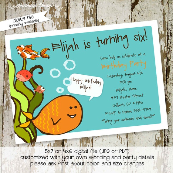 goldfish birthday invitation under the sea retirement party summer boy girl twins couples baby shower coed sibling | 255 Katiedid designs