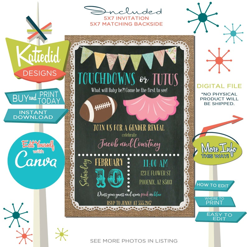 gender reveal invitation touchdowns or tutus baby shower image 0