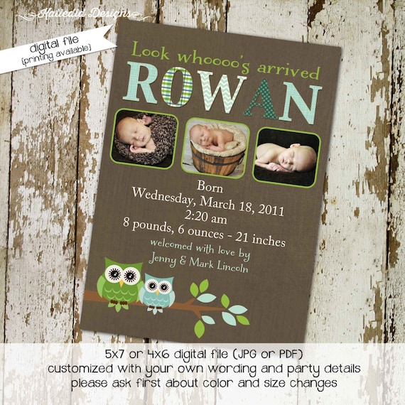 owl baby shower invitation birth announcement ultrasound photo newborn picture birthday couples coed boy green blue twins | 425 Katiedid