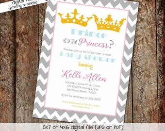 once upon a time gender reveal invitation little prince princess baby shower pink blue he she crown tiara couples | 1409 Katiedid Designs