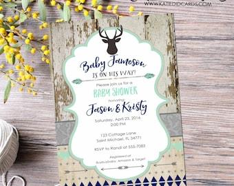 Baby Boy Shower Invitation Deer, Rustic Couple Shower, Tribal Twin Birthday, Mint Navy | 1238b Katiedid